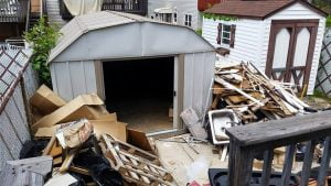 backyard cleanup and removal of storage shed