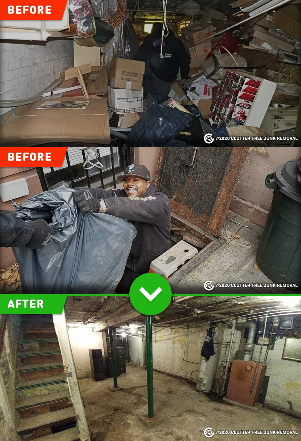 basement and attic cleanup and cleanout in New York, NY.
